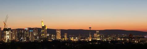 Frankfurt germany evening skyline Stock Images