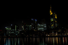 Frankfurt Germany Famous Skyline Reflection Water Main River Stock Image