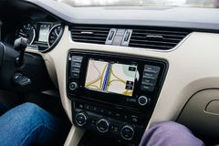 Car GPS infotainment display system showing multiple lanes royalty free stock image