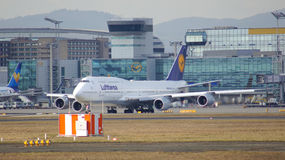 FRANKFURT, GERMANY - FEB 28th, 2015: The Lufthansa Boeing 747 - MSN 28287 - D-ABVT, named Rheinland Pfalz going to take. Off at Frankfurt International Airport Royalty Free Stock Image