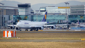 FRANKFURT, GERMANY - FEB 28th, 2015: The Lufthansa Boeing 747 - MSN 28287 - D-ABVT, named Rheinland Pfalz going to take Stock Photography