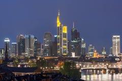 Frankfurt, Germany financial district skyline. Royalty Free Stock Photo