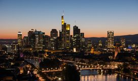 Frankfurt, Germany financial district skyline. Panoramic view of the business district in Frankfurt at sunset . ideal for websites and magazines layouts Stock Images