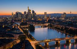 Frankfurt, Germany financial district skyline at sunset. View of the business district in Frankfurt at the main river during sunset . ideal for websites and Royalty Free Stock Image