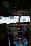 FRANKFURT, GERMANY - JAN 20th, 2017: Airbus A320 cockpit interior. The Airbus A320 family consists of short- to medium Royalty Free Stock Photography