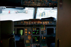 FRANKFURT, GERMANY - JAN 20th, 2017: Airbus A320 cockpit interior. The Airbus A320 family consists of short- to medium Stock Photography