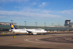 FRANKFURT, GERMANY - JAN 20th, 2017: Aircrafts, an Airbus A320 neo from Lufthansa, at the gate in Terminal 1 at Royalty Free Stock Photo
