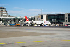 FRANKFURT, GERMANY - JAN 20th, 2017: Aircrafts, an Airbus from Turkish Airlines, at the gate in Terminal 1 at Frankfurt Royalty Free Stock Photo