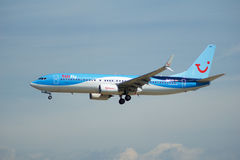 FRANKFURT, GERMANY - JUL 09th, 2017: TUIfly AIRLINES Boeing 737-800 lands at Frankfurt airport, Boeing 737 Next Gen, MSN Stock Photography