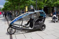 Frankfurt, Germany - June 15, 2016: The advertising bike near the modern shopping mall MyZeil Stock Images