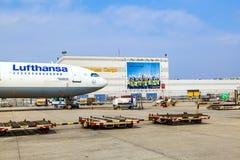 Lufthansa Cargo Flight ready for. FRANKFURT, GERMANY - MAR 28: Lufthansa Cargo Flight ready for loading on March 28, 2013 in Frankfurt, Germany. Frankfurt Rhein Royalty Free Stock Images