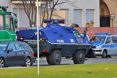 FRANKFURT, GERMANY - MARCH 18, 2015: Armored police car, Demonst Royalty Free Stock Photography