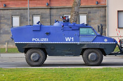 FRANKFURT, GERMANY - MARCH 18, 2015: Armored police car, Demonst Stock Photo