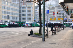 FRANKFURT, GERMANY - MARCH 18, 2015: Crowds of policemen, Demons Stock Photo
