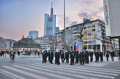 FRANKFURT, GERMANY - MARCH 18, 2015: Crowds of policemen, Demons Royalty Free Stock Photography