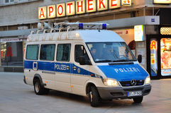 FRANKFURT, GERMANY - MARCH 18, 2015: Police car, Demonstration B Royalty Free Stock Photos