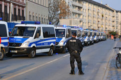 FRANKFURT, GERMANY - MARCH 18, 2015: Police cars, Demonstration stock image
