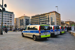 FRANKFURT, GERMANY - MARCH 18, 2015: Police cars, Demonstration Royalty Free Stock Photos