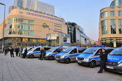 FRANKFURT, GERMANY - MARCH 18, 2015: Police cars, Demonstration Royalty Free Stock Image