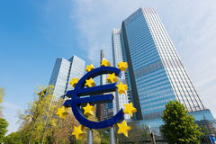Frankfurt, Germany - May 1, 2016: Euro sign in Frankfurt am Main Stock Image