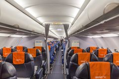 FRANKFURT, GERMANY - NOVEMBER, 2017: Aircraft interior. Aeroflot Russian Airlines Airbus A320 preparing for flight to Moscow from royalty free stock image