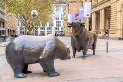 Frankfurt, germany - November, 2018: Bear and Bull sculpture near Frankfurt Stock Exchange building.  royalty free stock image
