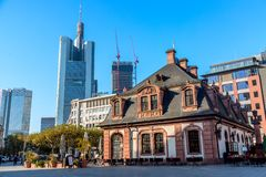 Frankfurt, Germany - November, 2018: Historic Hauptwache Cafe located against business skyscrapers in the centre of Frankfurt am stock photos