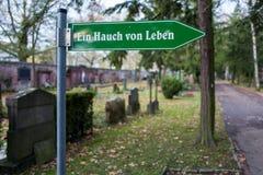 Frankfurt, Germany - November 19: Sign on the Frankfurt Hauptfriedhof on November 19, 2017. royalty free stock photography