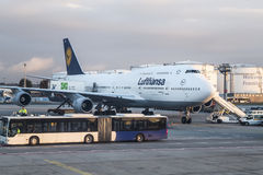 FRANKFURT, GERMANY  - NOVEMBER 8th 2014: Lufthansa Being 737-400 at the Gate of the Frankfurt Airport Royalty Free Stock Photo