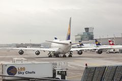 Lufthansa Boeing 747 at the Frankfurt Airport Royalty Free Stock Photo