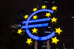 FRANKFURT, GERMANY - October 28, 2017: Blue and yellow Euro sign Stock Images