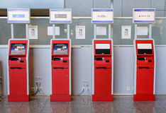 Frankfurt, Germany- 26 October 2015:Information terminals for banking operations at the airport Royalty Free Stock Photo