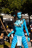 Colorful girl made up as Avatar figure at book fair in Frankfurt am Main Stock Images
