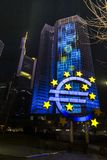 The old ECB EZB in Frankfurt am Main at night. Frankfurt, Germany - 03-13-2016: The old ECB in Frankfurt at night during the luminale 2016 with an illuminated Royalty Free Stock Image