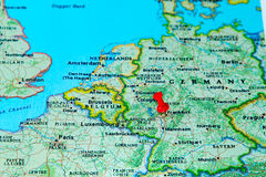 Frankfurt, Germany pinned on a map of Europe.  stock image