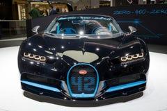 Bugatti Chiron sports car. FRANKFURT, GERMANY - SEP 13, 2017: Bugatti Chiron 42 Seconds Edition presented at the Frankfurt IAA Motor Show 2017 Stock Images