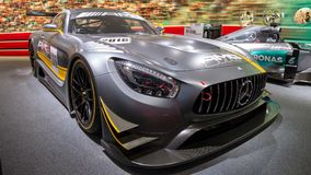 Mercedes-AMG racing car. FRANKFURT, GERMANY - SEP 16, 2015: Mercedes-AMG racing car showcased at the Frankfurt IAA Motor Show Royalty Free Stock Image