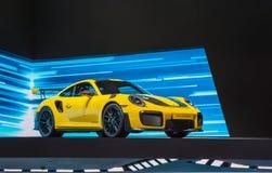 Porsche 911 GT2 RS sports car at IAA. FRANKFURT, GERMANY - SEP 17, 2017: Porsche 911 GT2 RS sports car at at International Motor Show Royalty Free Stock Photo