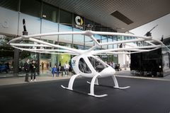 Volocopter fully electric VTOL aircraft. FRANKFURT, GERMANY - SEP 12, 2017: Volocopter aircraft presented at the Frankfurt IAA Motor Show 2017. Volocopter is the Royalty Free Stock Images