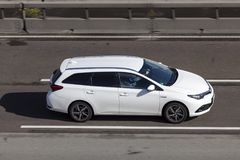 Toyota Auris Hybrid on the highway Royalty Free Stock Photo