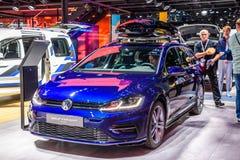 FRANKFURT, GERMANY - SEPT 2019: blue VOLKSWAGEN VW GOLF VARIANT estate wagon combi family car, IAA International Motor Show Auto