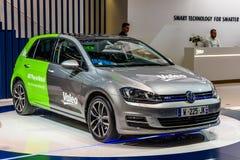 FRANKFURT, GERMANY - SEPT 2019: silver green VOKLSWAGEN VW GOLF Valeo Plug-In-Hybrid electric car, IAA International Motor Show