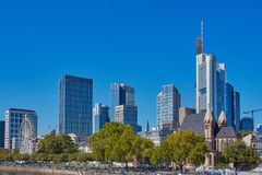 Cityscape of Frankfurt´s skyscrapers on a cloudless day stock photography