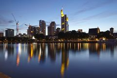 Frankfurt (Germany) - Skyline in the evening Stock Photos