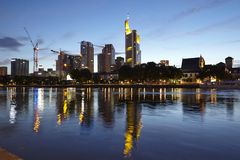 Frankfurt (Germany) - Skyline in the evening Royalty Free Stock Images