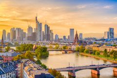 Frankfurt, Germany Skyline. Over the Main River royalty free stock images
