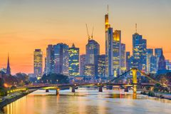 Frankfurt, Germany Skyline. Over the Main River stock images