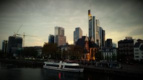 Frankfurt Germany skyscrapers panorama view of the city at dawn. Frankfurt skyscrapers panorama Stock Images