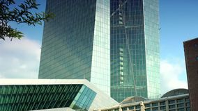 FRANKFURT, GERMANY : ULTRA HD 4K, real time, City view of the European Central Bank (ECB). stock video footage