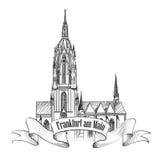Frankfurt gränsmärke, Tyskland. Loppsymbolen skissar Arkivbilder